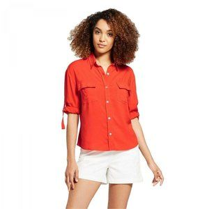 NWT A New Day Button Utility Shirt Medium Orange